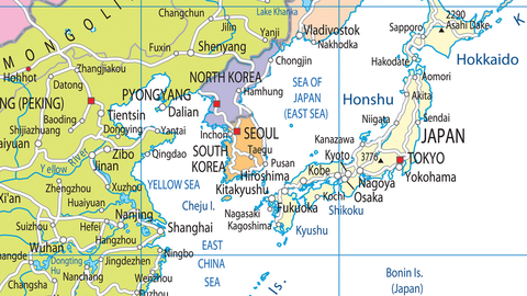 Map Of Asia Yellow Sea.Asia Political Map