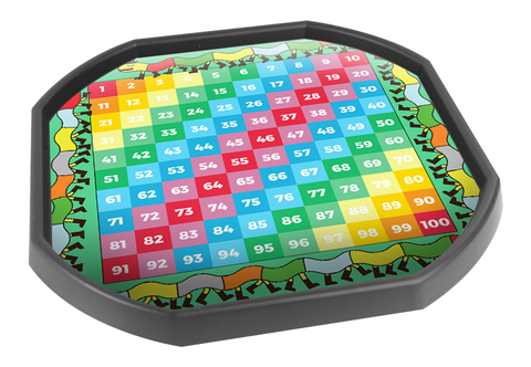 1-100 Number Grid Numeracy Tuff Tray Insert Mat (Black Tray Not Included)