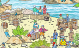 Extract from The Pirate Island tuff tray mat features pirates, treasure and sealife in a busy coastal cove Perfect for individual or small group imaginative play. Designed to fit in the Tuff Tray or the Tuff Spot.