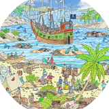 The Pirate Island tuff tray mat features pirates, treasure and sealife in a busy coastal cove Perfect for individual or small group imaginative play. Designed to fit in the Tuff Tray or the Tuff Spot.