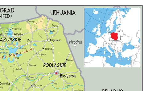 Poland Physical Map Tiger Moon - Lithuania physical map