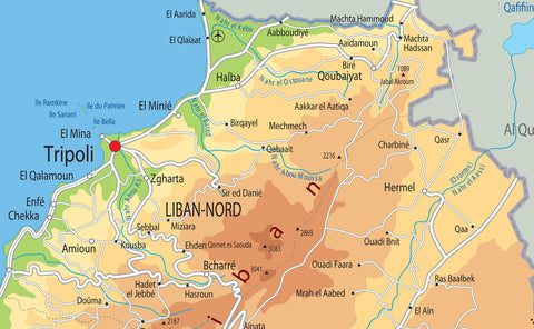 Lebanon Physical Map Tiger Moon