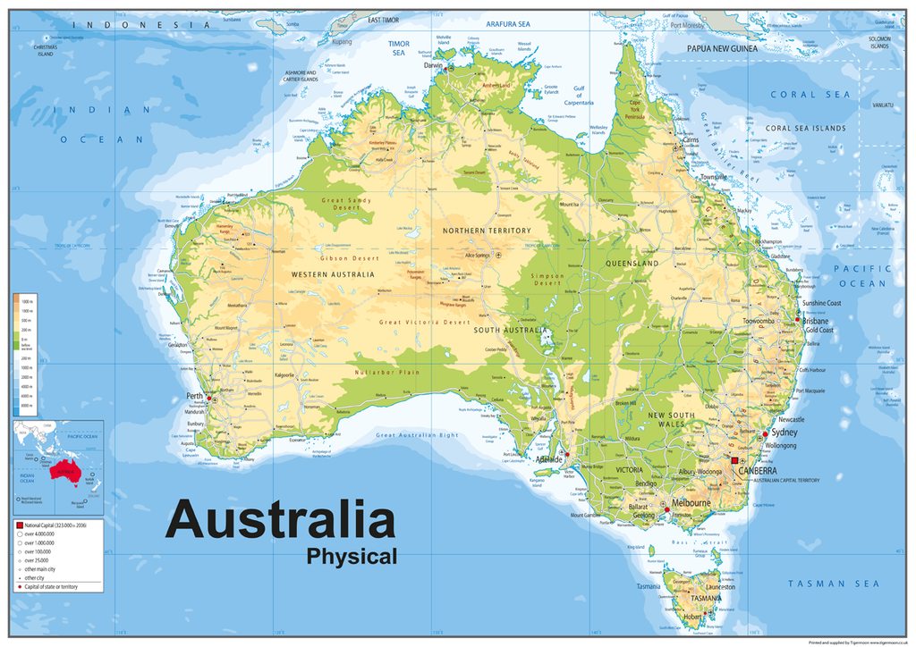 Australia Physical Map – Tiger Moon