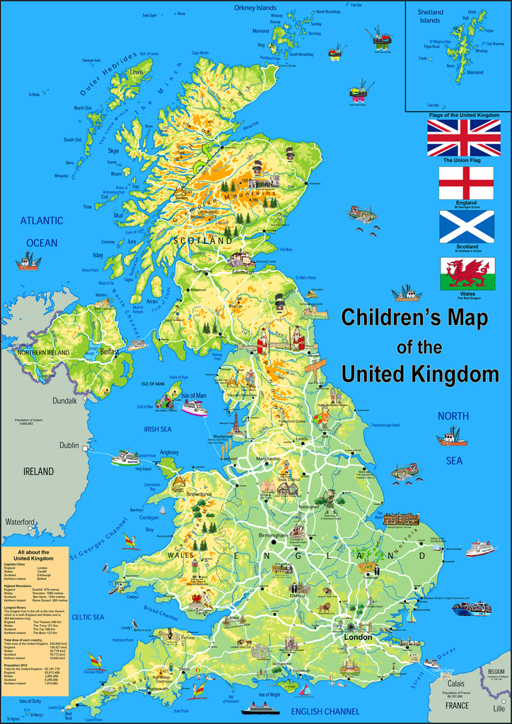 Childrens Illustrated Map Of The United Kingdom Tiger Moon - United kingdom map