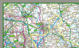 1:100,000 detailed map of Warwickshire, a county in the West Midlands of England, UK. This map covers the towns: Nuneaton Stratford Upon Avon Rugby Leamington Spa Bedworth Kenilworth