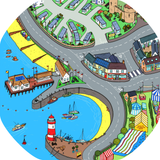 The Charlotte's Cove mat is ideal for use with a Tuff Tray. Explore the castle, the pier, the funfair and the lighthouse. Drive toys cars around to see the sites and take toy people to the beach.  Printed onto a high quality, durable vinyl material.  86cm x 86cm (approx )  Designed to fit in the Tuff Tray or the Tuff Spot.