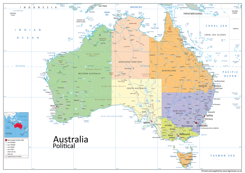 Map Of Australia Images.Australia Political Map Tiger Moon