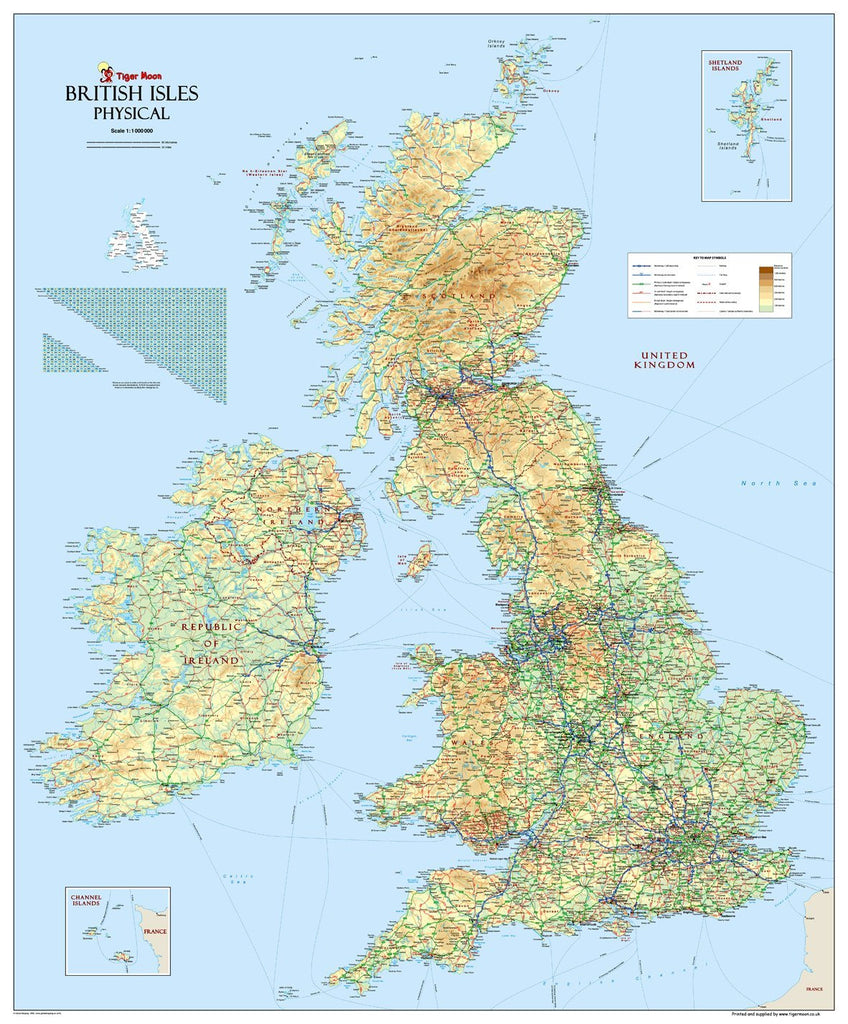 Picture of: British Isles Uk Physical Map Tiger Moon