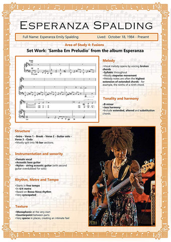 GCSE Music - Set Works - Esperanza Spalding - Educational Poster - Size A2