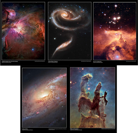 Hubble Telescope Space Posters Set of 5. This pack contains the posters:      Hubble's sharpest view of the orion nebula     A rose made of galaxies     Star on a hubble diet     Galaxy M106     Pillars of creation