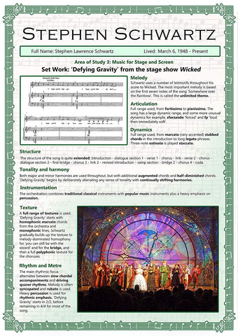 GCSE Music poster to support the study and revision of Stephen Schwartz, part of the edexel GCSE music syllabus.