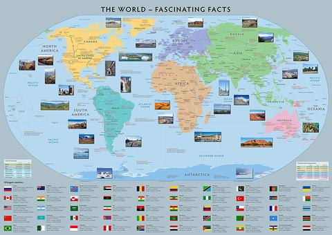 Set Of Two Fascinating Facts & Great Discovery World Maps - 100cm x70cm