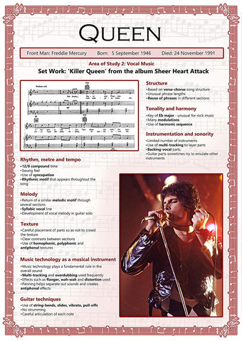 GCSE Music poster to support the study and revision of Queen, part of the edexel GCSE music syllabus.