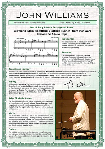 GCSE Music poster to support the study and revision of John Williams, part of the edexel GCSE music syllabus.