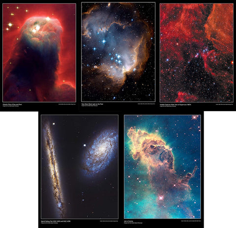 This Hubble Telescope pack contains the posters:      Ghostly pillar of gas and dust     New stars shed light on the past     Hubble captures wide view of supernova 1987A     Spiral galaxy pair NGC 4302 and NGC 4298     Jet in carina