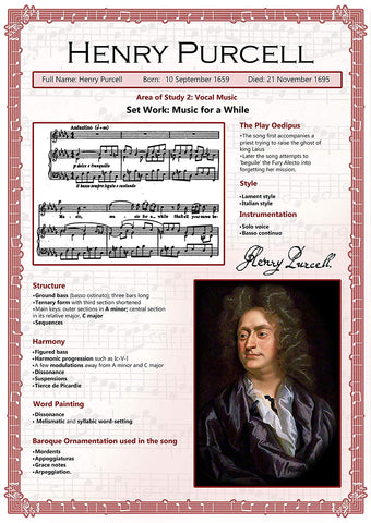 GCSE Music poster to support the study and revision of Henry Purcell, part of the edexel GCSE music syllabus.