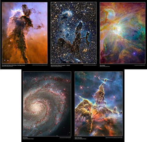 This Hubble Telescope pack contains the posters:      The eagle has risen     New view of the pillars of creation     Orion nebula     M51     Mystic mountain