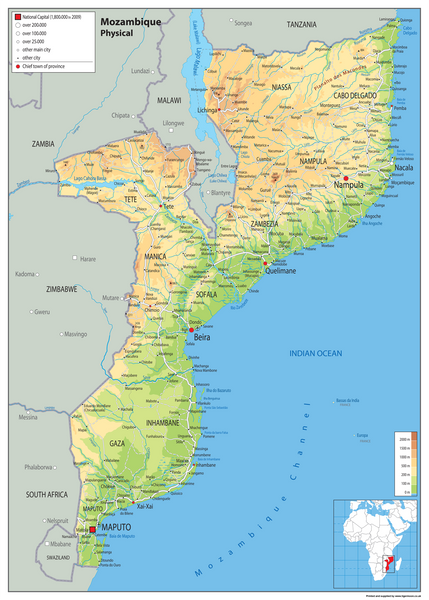 Mozambique Physical Map Tiger Moon