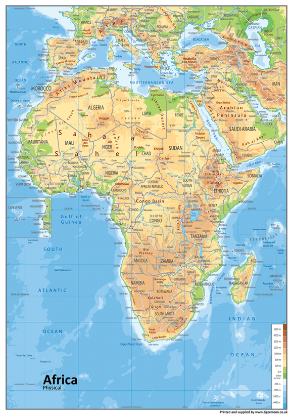Africa Physical Map. Africa is a continent is surrounded by the Mediterranean Sea to the north, the Isthmus of Suez and the Red Sea to the northeast, the Indian Ocean to the southeast and the Atlantic Ocean to the west. Algeria is Africa's largest country by area, and Nigeria is its largest by population. African nations cooperate through the establishment of the African Union, which is headquartered in Addis Ababa.