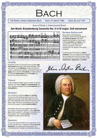 GCSE Music - Set Works - Bach - Educational Poster - Size A2