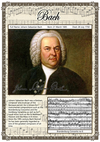 Bach Music Composer Poster A2