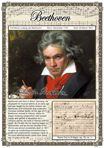 Beethoven Music Composer Poster A2