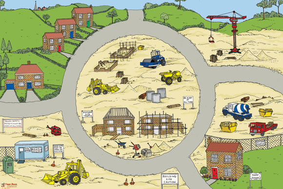 This Building Site Play Mat is ideal for use with a Tuff Tray. See the stages of house building and add your own diggers, gravel and sand for imaginative play.