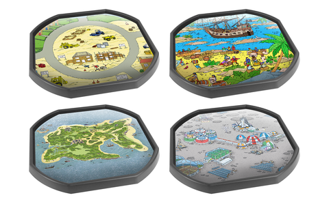 Four Mat Bundle Tray Mats - Building Site, Pirate Scene, Pirate Island, Space Station