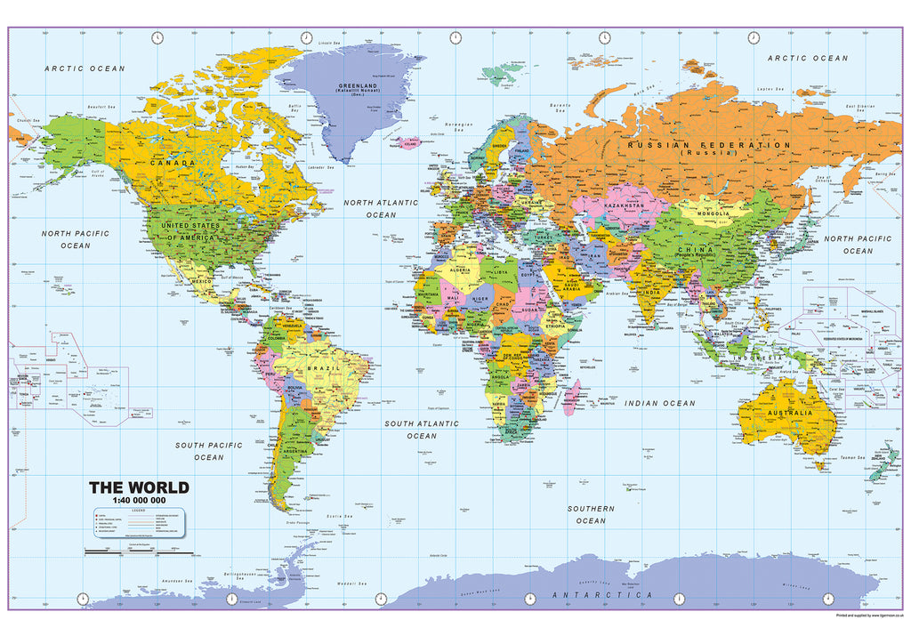 Mounted World Map.Large World Map On Mounted Canvas 145 X 90cm Tiger Moon