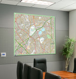 Postcode Centred Mounted Ordnance Survey Street Map - Size 1.2x1.2m (120x120cm) - 4x4km Area