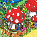 Detail from The Erinsdale Fairy Village tuff try insert mat is a vibrant, colourful and busy fairy village of toadstools, perfect for individual or small group play.  Printed onto a high quality, durable vinyl material.  86cm x 86cm (approx )  Designed to fit in the Tuff Tray or the Tuff Spot.