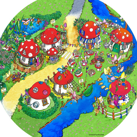The Erinsdale Fairy Village tuff try insert mat is a vibrant, colourful and busy fairy village of toadstools, perfect for individual or small group play.  Printed onto a high quality, durable vinyl material.  86cm x 86cm (approx )  Designed to fit in the Tuff Tray or the Tuff Spot.