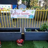 Designed for outdoor play areas, the Our Garden banner is made of heavy duty weatherproof vinyl and comes with brass eyelets so it can be easily hung outside. Useful to designate play areas in preschool, nurseries and primary school playgrounds.