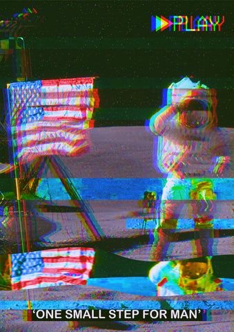 The Moon Landing VHS Effect Poster