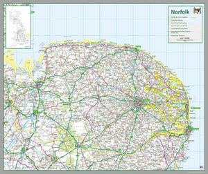 map of Norfolk, a county in England, UK. This map covers the city of Norwich and the towns: King's Lynn Great Yarmouth Thetford Gorleston-on-Sea Dereham Taverham Wymondham North Walsham