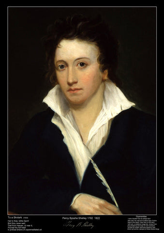 Famous Poet - Percy Bysshe Shelley - Educational Poster A3 Size