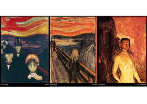 Edvard Munch - Set of 3 Expressionism Art Movement Posters - The Scream, Anxiety, Self Portrait in Hell - A3