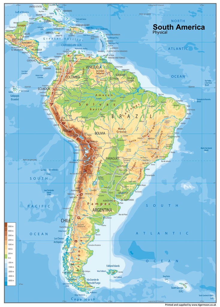South America Physical Map Tiger Moon