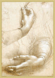 Study of Hands by Leonardo Da Vinci - A2 Replica Print - Paper Laminated