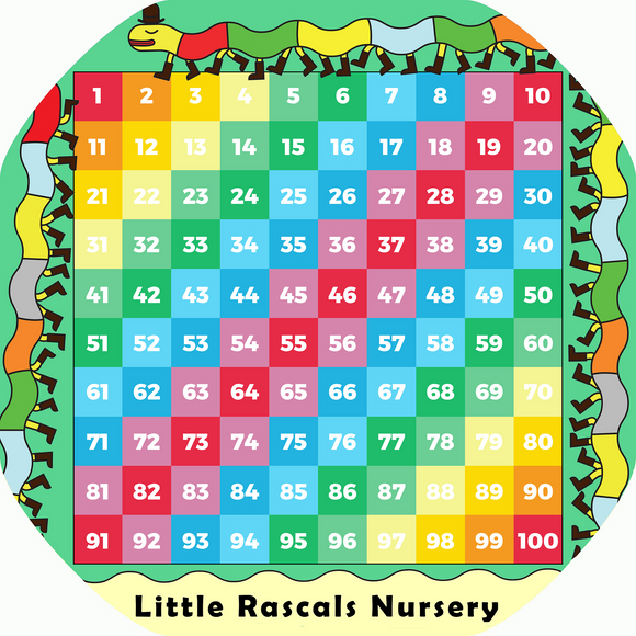 The personalised 1-100 Number Grid Centipede mat is ideal for use with a Mini Tuff Tray and features your nursery, preschool, school or child's name underneath! The 1-100 number grid encourages numeracy. Use it to spot number sequences, learning to count on and back, addition, subtraction and times tables.