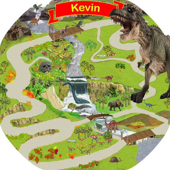 The personalised Lost World Dinosaur mat is ideal for use with a Tuff Tray and features your child's name on a banner! Spot and name the dinosaurs and add your own dinosaur toys for more fun! Drive a Jeep around to check they're all okay - or to make a quick get away!