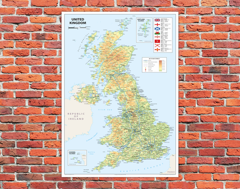 United Kingdom of Great Britain and Northern Ireland Map Mounted Board