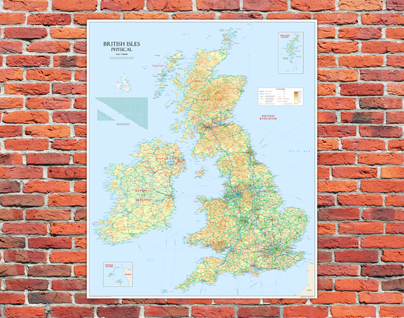 British Isles Mounted Wall Map