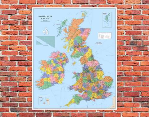 British Isles Political Mounted Wall Map