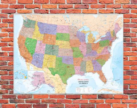 USA Mounted Wall Map