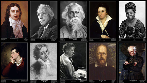 Features ten of the most inspirational and romantic poets:  Alfred, Lord Tennyson  John Keats  Maya Angelou  Rabindranath Tagore  Robert Frost  William Wordworth  Dylan Thomas  Samuel Taylor Coleridge  Lord Byron  Percy Bysshe Shelley