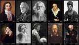 Famous Poets - Set Of Ten -A3 Size