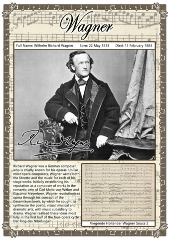 Wagner Music Composer Poster A2