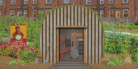 WWII Anderson shelter Backdrop (240cm x 120cm)