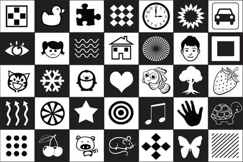 Black and White Sensory Giant Floor Mat - Size - 240cm x 160cm